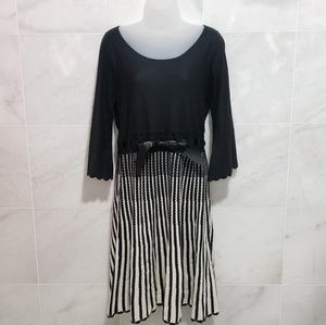 Madison Leigh Black and White Pleated  Dress